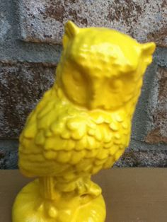 owl vintage 70s home decor bright yellow retro by UpcycledWhimsies, $16.00