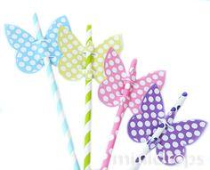 Schmetterlinge zum Basteln * Vorlage ausdrucken und bunte Schmetterlinge basteln * Für Strohhalme oder als Dekoration * Jetzt im Minidrops Blog anschauen