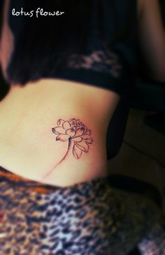 A drawing style lotus flower tattoo on the hip #lotus #tattoo