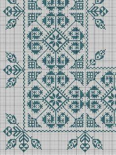 Manteleria gris Cross Stitch Borders, Cross Stitch Designs, Cross Stitching, Cross Stitch Patterns, Diy Embroidery, Cross Stitch Embroidery, Embroidery Patterns, Blackwork, Diy Broderie
