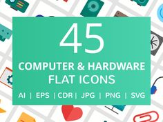 45 Computer & Hardware Flat Icons