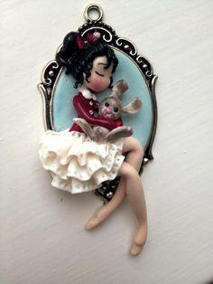 Baby girl with rabbit di medi72 su Etsy