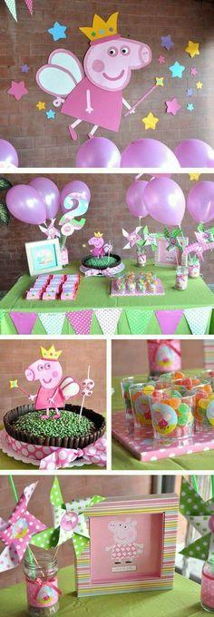 Cumpleaños infantil Peppa Pig Princesa --- love the cake Fiestas Peppa Pig, Cumple Peppa Pig, Peppa Pig Pinata, 4th Birthday Parties, Birthday Fun, Third Birthday, Peppa Pig Princesa, Birthday Decorations, Pig Decorations