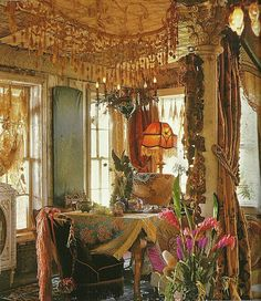 Bohemian Decor..This type of decor has a lot in common with Victorian decor. I think of bohemian decor as an eclectic mix of many styles: Gypsy,Indian(India), moroccan,Victorian,hippie etc. I love it all!