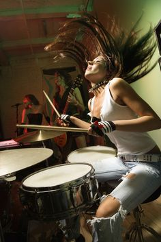 Find Caucasian Girl Band Playing Instruments stock images in HD and millions of other royalty-free stock photos, illustrations and vectors in the Shutterstock collection. Girl Drummer, Female Drummer, Gi Joe, Drums Girl, Wow Photo, Drum Music, Drum Lessons, How To Play Drums, Rockn Roll
