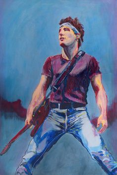 Bruce Springsteen Painting - Print by Colleen Caron of Dirigo Craft & Supply Co.