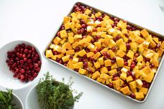Cut Butternut Squash, Dinner Side Dishes, Dinner Sides, Vegetables, Fresh Cranberries, Fresh Thyme, Holiday Recipes, Annie, Roast
