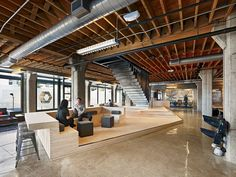 A Look Inside Heavybit Industries' San Francisco Coworking Space, - industrial office interior Lofts, Warehouse Office, Loft Office, Office Spaces, Car Office, Office Meeting, Open Office, Coworking Space, Corporate Design