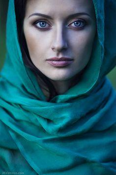 Beautiful Lady in Green Portrait