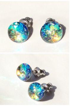 fireworks aurora borealis  glitter bright  resin stud earrings,glitter stud,tiny stud earrings,resin stud earrings,sparkly earrings by skietromart on Etsy https://www.etsy.com/listing/233867396/fireworks-aurora-borealis-glitter-bright