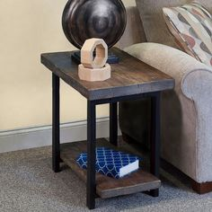 Found it at Wayfair - Somers Reclaimed Wood/Metal End Table Rustic End Tables, Diy End Tables, Metal End Tables, Living Room End Tables, Sofa End Tables, My Living Room, Side Tables, Dining Room, Furniture Projects