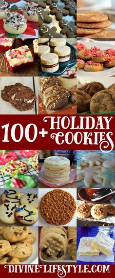 Ultimate list of 100+ Holiday Cookies Recipes Christmas Cookies, Sugar Cookies, Peppermint Cookies, Easy Treat Recipes, Bark, Bars, Twists, Shortbread, Gingerbread, Chocolate Chip, Biscotti, Pizelles, Peanut Butter and more.