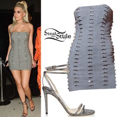 Kylie Jenner was spotted leaving Provocateur Nightclub at Gansevoort Hotel wearing a Bryan Hearns Collection 8 Dress & Necklace (Not available online) with Jimmy Choo Tizzy Metallic Sandals ($755.00). You can find similar sandals for less at Heels ($79.99).
