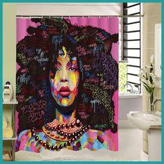 High Quality Different Custom Waterproof Bathroom African Woman Shower Curtain Polyester Fabric Bathroom Curtain