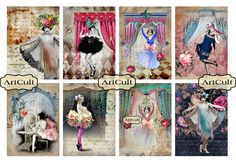 DANCE WITH ME  Printable Digital Collage Sheet Gift by ArtCult, $4.60
