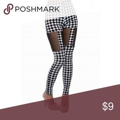 B&W checkered tights These cute checkered tights has sheer on each leg. It stretches to fit. Pants Leggings