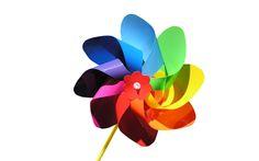 rainbow colors paper windmill