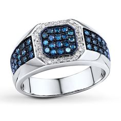 Jared The Galleria of Jewelry  Jared Blue/White Diamond Men's Ring 3/4 ct tw 10K White Gold- Men's Diamond Jewelry