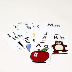 alphabet flash cards: Set of 26 (a-z) vintage alphabet flash cards.