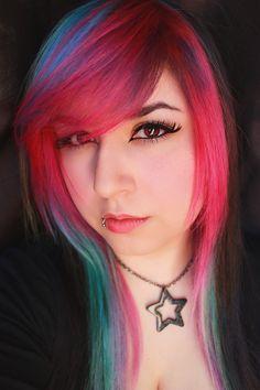 Pink rainbow multi color hair