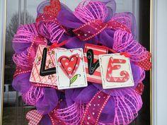 Purple Pink Love Valentine Wreath