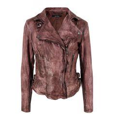 Muubaa Flax Burnt Tan Leather Biker Jacket