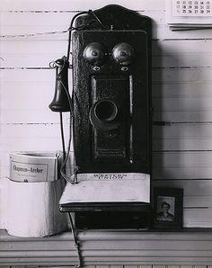 Wright Morris Wall Telephone in Depot in Chapman, Nebraska, 1943