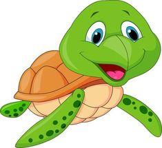 Illustration of Cute sea turtle cartoon vector art, clipart and stock vectors. Cartoon Sea Animals, Cartoon Turtle, Cartoon Fish, Cartoon Wall, Baby Animals, Cute Animals, Cartoon Smile, Sea Turtle Quilts, Hawaiian Sea Turtle