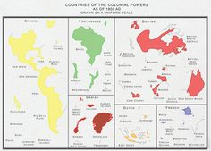 Major colonial empires drawn to scale, 1800.