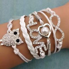 Armband wit strass Infinity-Heart-Love-Owl 34