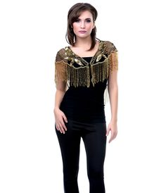 Unique Vintage 1920s Style Deco Beaded Gold on Black Capelet (7703) van Krishma - This is a DECO style GLAM gold on blac...Price - $78.00-z4GkSDcF