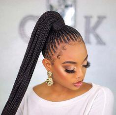 Cornrows Natural Hair, Braided Hairstyles For Black Women Cornrows, Cornrow Ponytail, Hair Ponytail Styles, Braids Hairstyles Pictures, Feed In Braids Hairstyles, Braids For Black Women, Braids For Black Hair, Half Cornrows