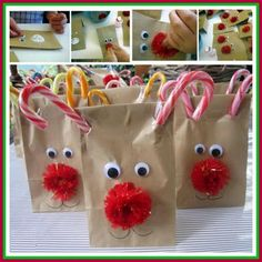 Turn Candy Canes And Dollar Store Items Into Rudolph The Red-Nosed Reindeer Treat Bags