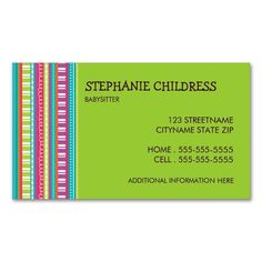 Colorful Stripes Babysitting Business Card in Lime. Make your own business card with this great design. All you need is to add your info to this template. Click the image to try it out!