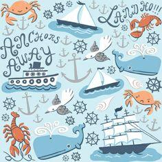 Nautical Pattern Art Print                                                                                                                                                                                 Mais