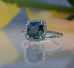 ... 2.2ct Cushion Peacock green blue color change sapphire diamond ring  Platinum 900 engagement ring.