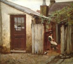 Frederick McCubbin - Girl with Bird at the King Street Bakery - 1886