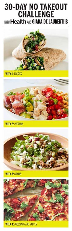 Eat clean (and save money!) with four weeks of healthy, easy-to-make recipes from Health and Giada De Laurentiis