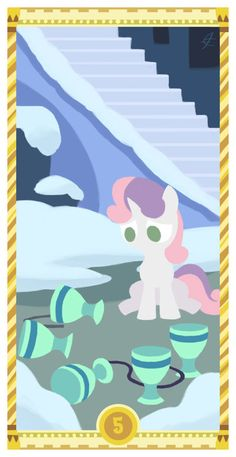 Somepony ruined all of Sweetie Belle's stuff! Represents loss, the end of pleasures, sadness, anxieties and troubles from unexpected or unsuspected sour. Five of Cups Mlp, Photo To Cartoon, Sweetie Belle, Tarot Cards, Ponies, My Little Pony, Decks, Card Making, Artsy