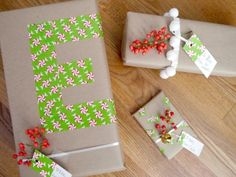 Use tape to make monogrammed gift wrap!