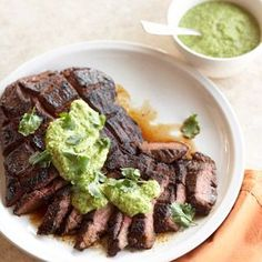 Espresso-Rubbed Steak with Green Chile Pesto A zesty rub and spicy pesto topping adds pizzazz to simple grilled steak. #GrillBeef