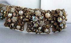Square Floral Link Rhinestone Bracelet w Pearls  by thejewelseeker, $63.75