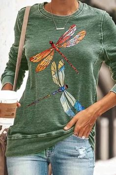 Colorful Dragonfly Print Casual Long Sleeves T-shirt – Regocy Online Clothing Stores, Online Shopping Clothes, Online Clothes, Style Casual, My Style, Disney Shirts, Printed Sweatshirts, Streetwear Fashion, Types Of Sleeves