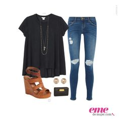 #OutfitEme Usa unas sandalias de tacón corrido para darle un toque de formalidad a tu look. Para saber más de moda y ser toda una fashionista entra en nuestra página web http://ve.emedemujer.com/moda/.