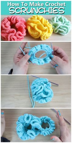 crochet scrunchies Today we are going to learn howto crochet these beautiful scrunchies. A video tutorial, delivered in English, is going to explain everything to you in very detail Crochet Pattern Free, Easy Crochet Patterns, Cute Crochet, Crochet Designs, Crochet Crafts, Yarn Crafts, Crochet Stitches, Crochet Projects, Knitting Patterns