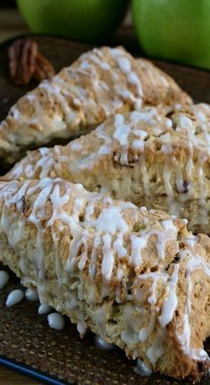 Apple Pecan Scones are delicious, full of apple chunks, chopped pecans and then drizzled with glaze. A delicious apple scone recipe perfect for Fall. Pecan Recipes, Best Dessert Recipes, Brunch Recipes, Fun Desserts, Baking Recipes, Sweet Recipes, Breakfast Recipes, Breakfast Ideas, Delicious Recipes