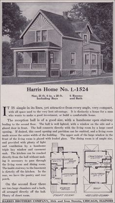 Large list of traditional home floor plans    antiquehomestyle com     Plan L 1524   Late Queen Anne Farmhouse   c  1918   Harris Bros