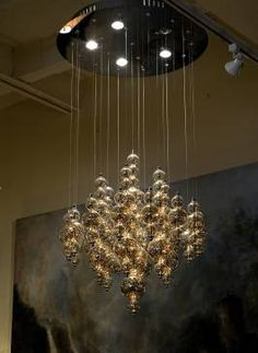 Small Bubbles Clear Pendant Chandelier Adjusts to Bring Fixture Closer to Ceiling Also Available As Larger Round and Oval Chandeliers at Mecox