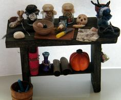 Dollhouse miniature 1/12 witch wizard preparation table by Lisitza, $40.00