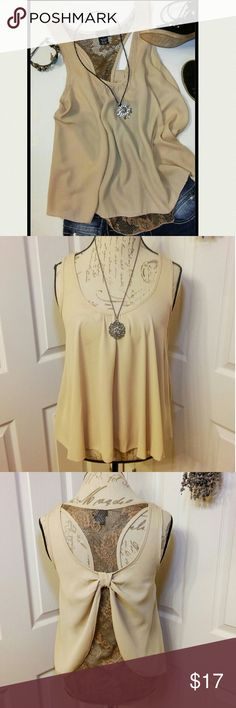 """Rue 21 Lace Back Blouse Size Small Beautiful & unique beige sleeveless blouse with brown lace back. Chest measures approx 19"""" pit to pit & length from center front shoulder seam is 23"""". Lightweight & flowy 100% polyester. Excellent condition! Rue 21 Tops Blouses"""